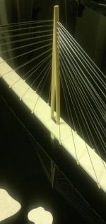 1. palkinto Kruunuvuoren silta, puu - akryyli - teräs, CNC-jyrsitty pilari, 1/500